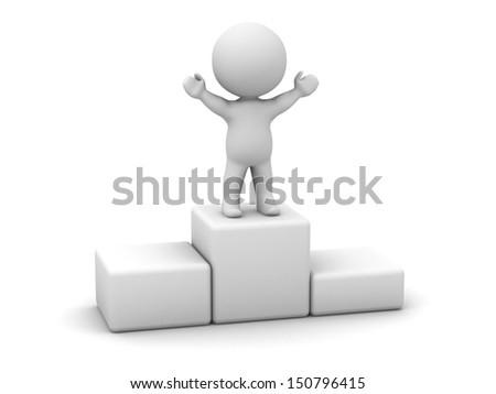 3D Man Standing on Top of Podium