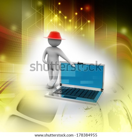 3d man standing with a laptop - stock photo
