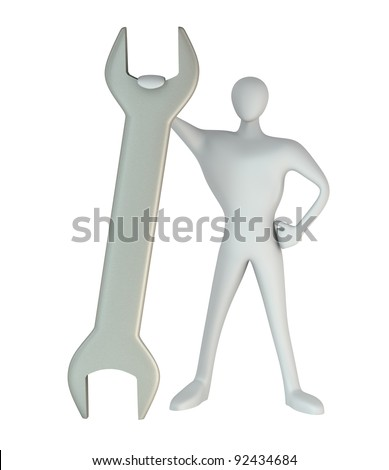3d man standing with a wrench - stock photo