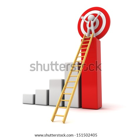 3d man standing with arms wide open on top of growth business red bar graph with wood ladder isolated over white background, business concept - stock photo