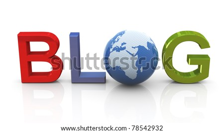3d man standing with colorful blog text