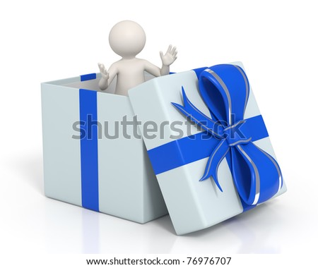 3d man standing with open arms in a blue gift box - Isolated - stock photo