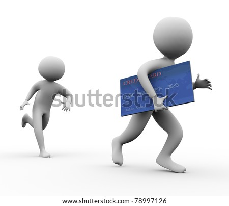 3d man stealing credit card. Concept of credit card fraud - stock photo