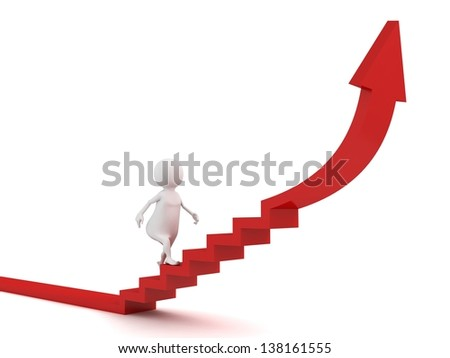 3d man steps up to success on stairs red arrow - stock photo
