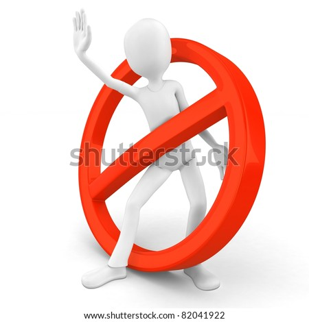 3d man stop sign on white background