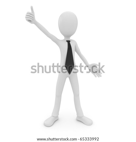 3d man success businessman isolated on white
