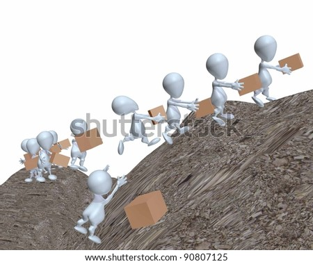 3d man supply chain going uphill - stock photo