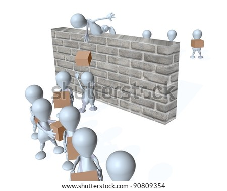 3d man supply chain over obstacles - stock photo