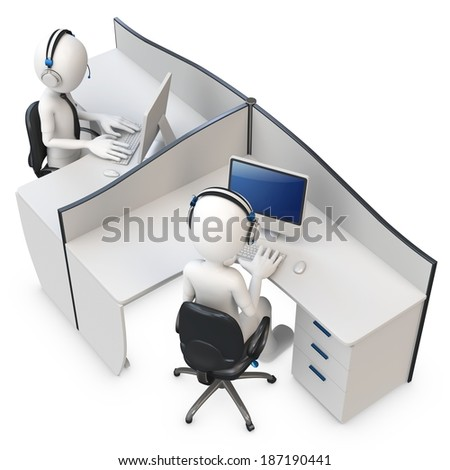 3d man support center cubicle team working  - stock photo