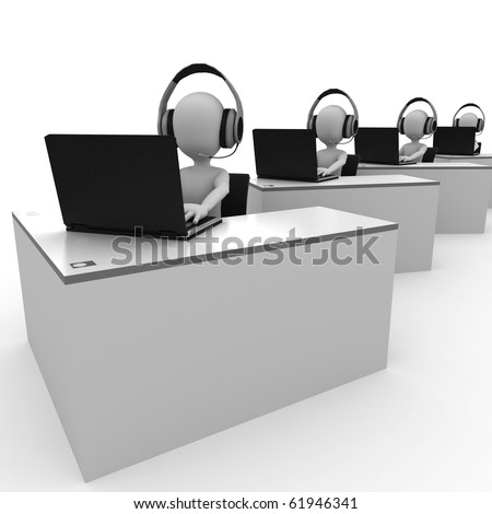 3d man support center isolated on white - stock photo