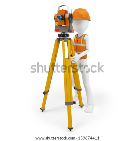 3d man surveyor with station ,hardhat and safety vest  on white background - stock photo