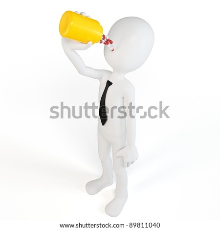 3d man taking a bottle of pills on white background