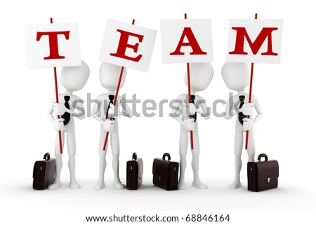 3d man team, isolated on white background - stock photo