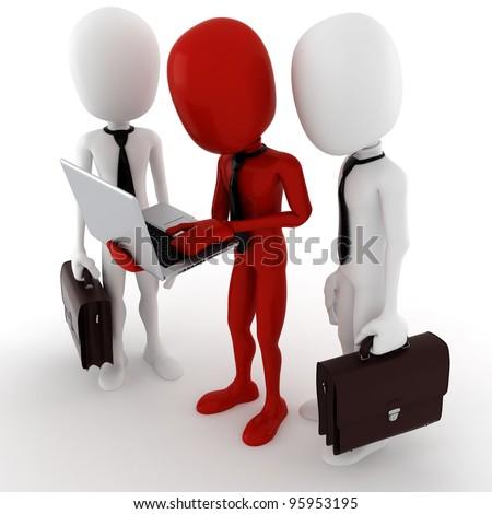 3d man team work, business concept - stock photo