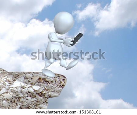 3d man texting and not paying attention while walking - stock photo