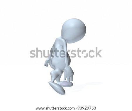 3d man that is sad and depressed - stock photo