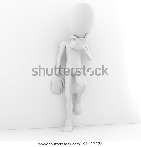 3d man thinking at something - stock photo