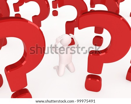 3d man thinking at something, with a big red question mark behin - stock photo