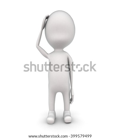 3d man  thinking concept on white background - 3d rendering , front angle view - stock photo
