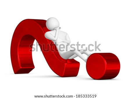 3d man thinking, holding his chin with his hand, lying on red question mark isolated on white - stock photo