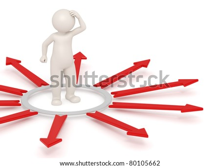 3d man thinking in a circle surrounded by red arrows - Isolated icon - Choice concept