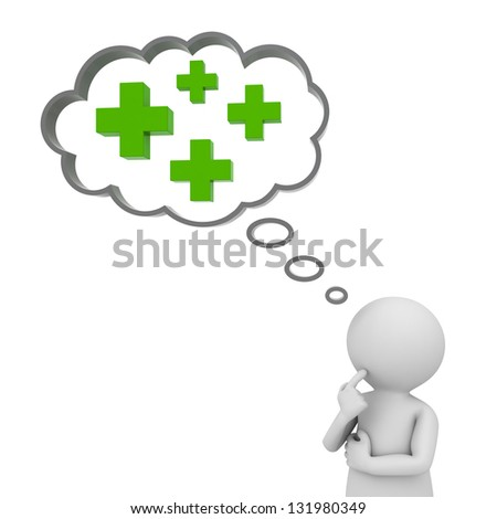 3d man thinking with plus signs in thought bubble above his head over white background, positive thinking concept - stock photo