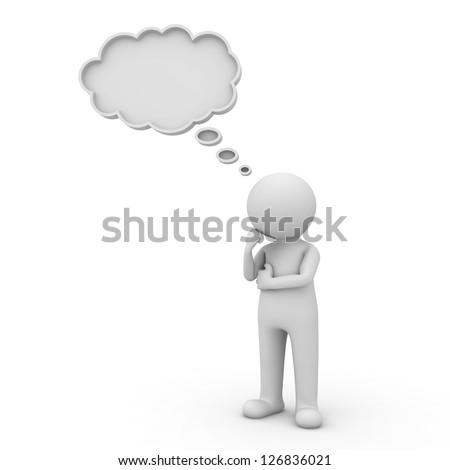 3d man thinking with thought bubble above his head over white background - stock photo