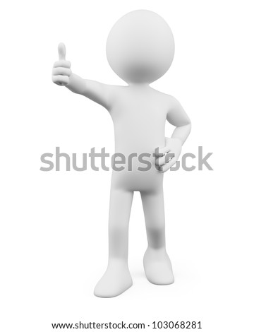 3D Man - Thumb up. Rendered at high resolution on a white background with diffuse shadows. - stock photo