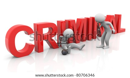 3d man tied with text 'criminal' during investigation - stock photo