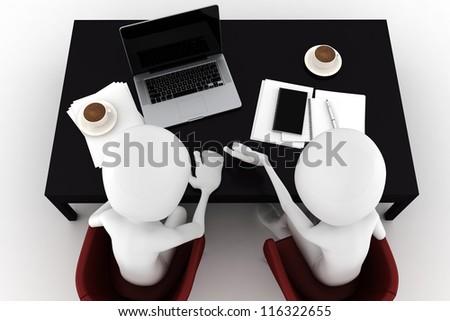 3d man two business men team work - stock photo