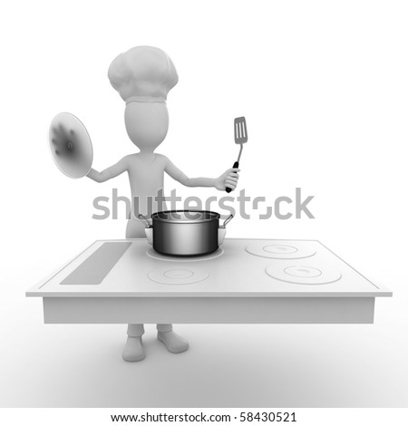 3d man using a cooking surface - stock photo