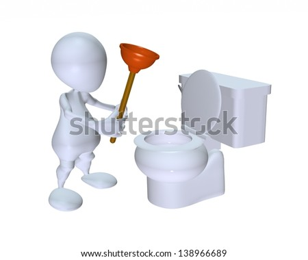 3d man using a toilet plunger on a toilet stock photo. Black Bedroom Furniture Sets. Home Design Ideas