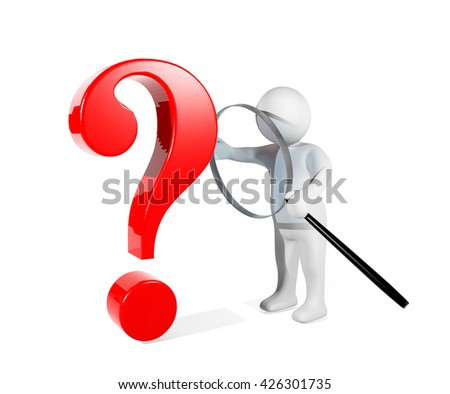 3D man using magnifying glass detecting red question mark, conceptual image presenting problem detected, 3D rendering - stock photo