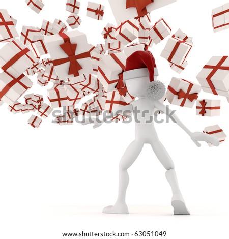 3d man vs Christmas presents :) - stock photo