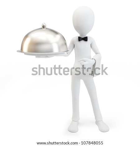 3d man waiter with tray isolated on white - stock photo