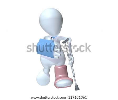 3d man walking on crutches wearing an arm sling and foot cast - stock photo