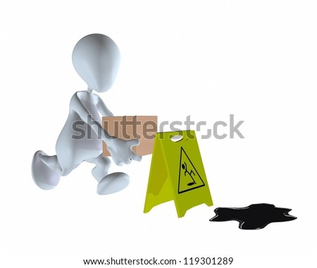3d man walking past wet floor with warning sign - stock photo