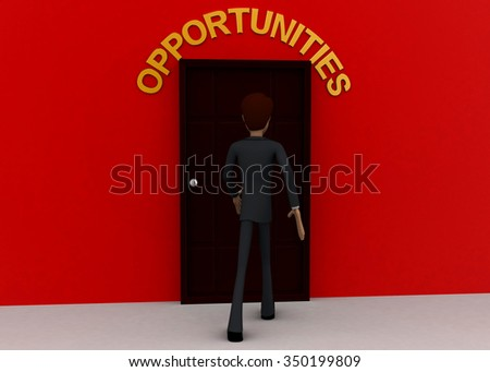 3d man walking towards door and OPPORTUNITY written on top of it concept on white background - 3d rendering, front angle view - stock photo