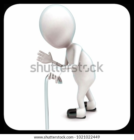 3d man walking with the help of walking stick concept in white isolated background - 3d rendering ,  side angle view