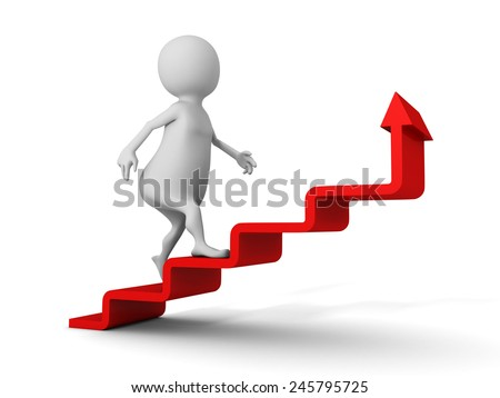 3d man walks upstairs on red growing arrow ladder. success concept 3d render illustration