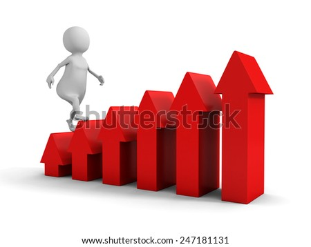 3d man walks upstairs on red growing arrow ladder. success concept 3d render illustration - stock photo