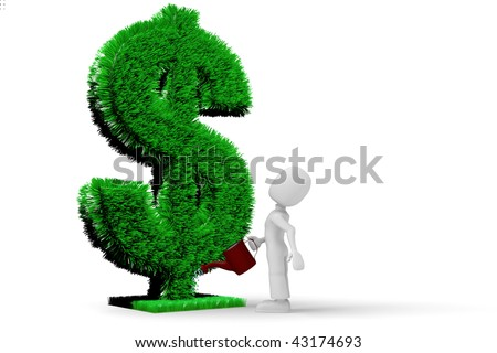 3d man watering the Dollar lawn - stock photo
