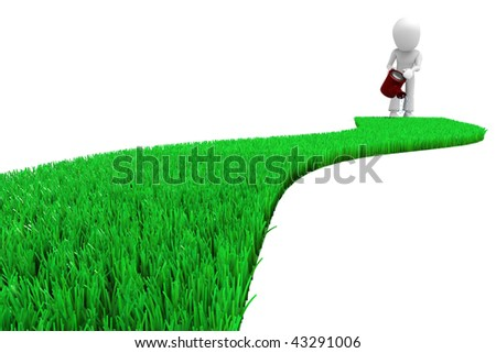 3d man watering the lawn - stock photo