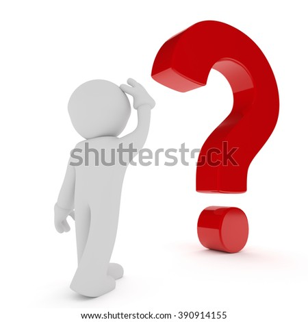 3d man with a big red question mark on a white background - stock photo
