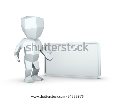 3D man with a blank board - stock photo