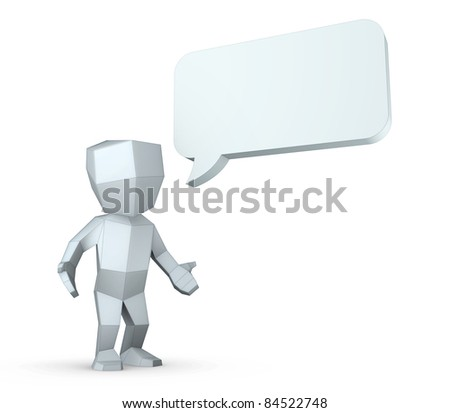 3D man with a blank bubble - stock photo