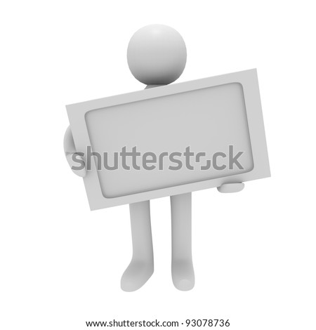 3D man with a blank sign isolated on white