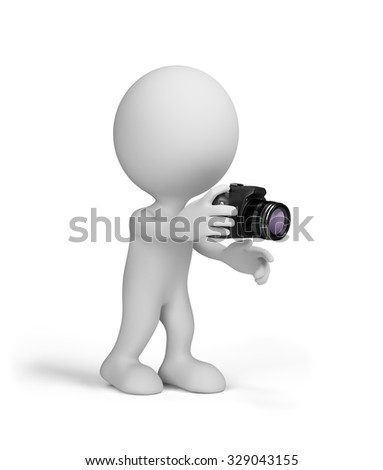 3d man with a camera in his hands. 3d image. White background.