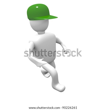 3D man with a green helmet