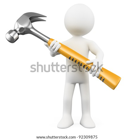 3D man with a huge hammer. Rendered at high resolution on a white background with diffuse shadows. - stock photo